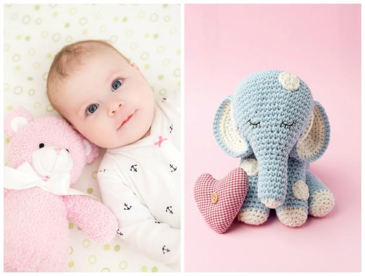 Collage - Baby und Plüschelefant