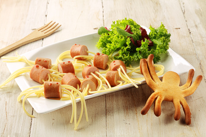 Wiener and Noodle Spider Snacks on Plate